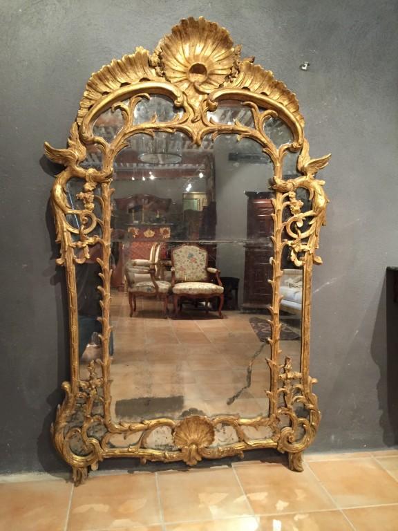 Achat vente miroirs miroir parecloses aux chim res p for Miroir louis xv