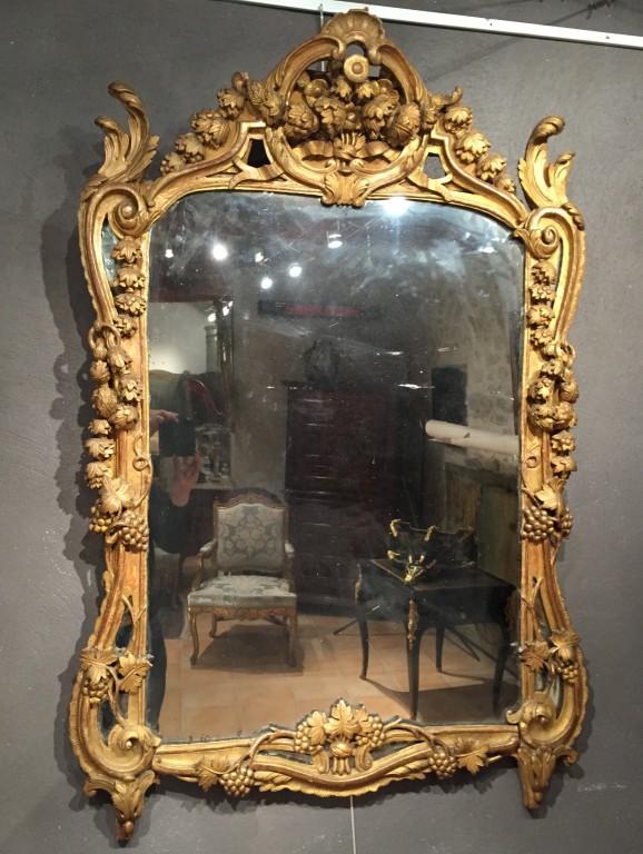 achat vente miroirs miroir en bois dor provence poque louis xv antiquit s franck baptiste. Black Bedroom Furniture Sets. Home Design Ideas