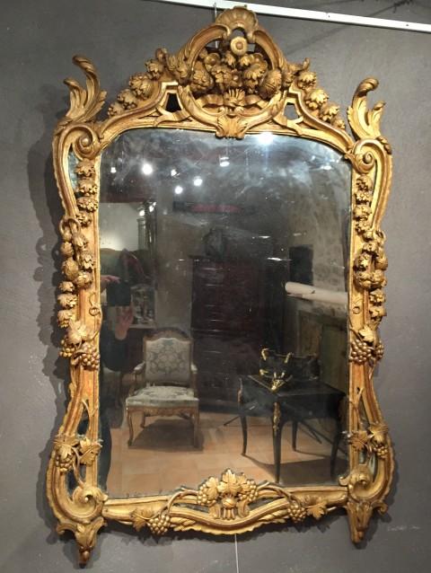Achat vente miroirs miroir en bois dor provence poque for Miroir louis xv